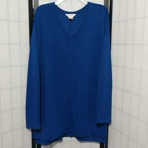 Blue Tunic V Neck Liz Claiborne Top sz XL